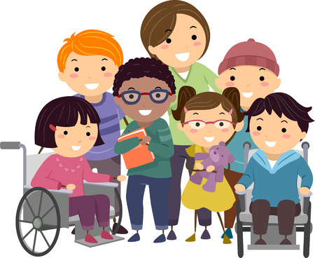 niños discapacitados: Stickman Ilustración de una enfermera El cuidado de los niños discapacitados