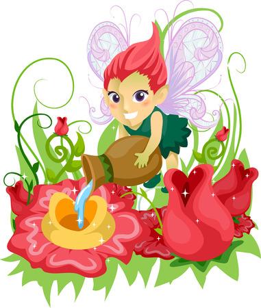 fairy garden: Illustration of a Little Fairy Girl Feeding the Flowers in a Whimsical Garden Stock Photo