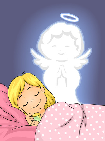angel: Illustration of a Guardian Angel Watching Over a Little Girl as She Sleeps Stock Photo