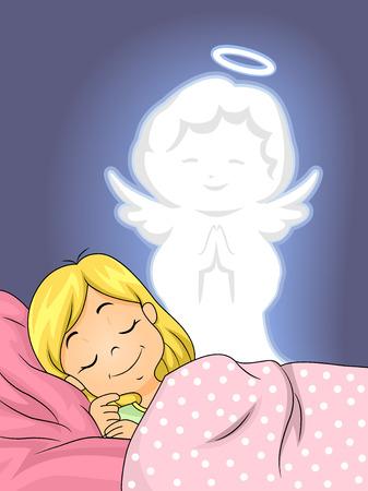 angel de la guarda: Ilustración de un ángel de la guarda que vigila una niña mientras duerme Foto de archivo