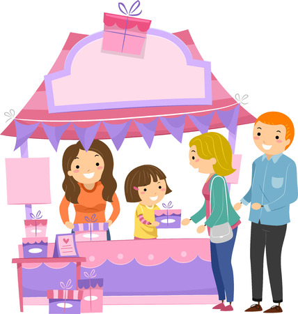 give: Illustration of a Little Girl in a Booth Handing Out Gifts to Moms
