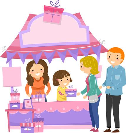 dar un regalo: Ilustración de una niña en un Entrega cabina de regalos a las mamás Foto de archivo