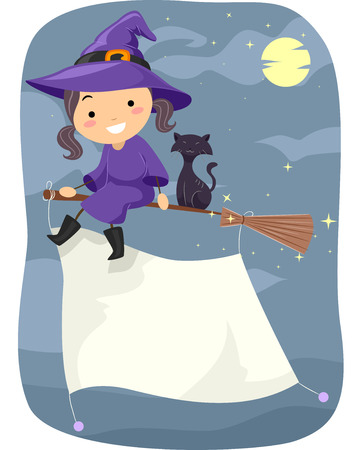 broomstick: Stickman Illustration of a Little Witch Flying on a Broomstick with a Banner Attached to It Stock Photo