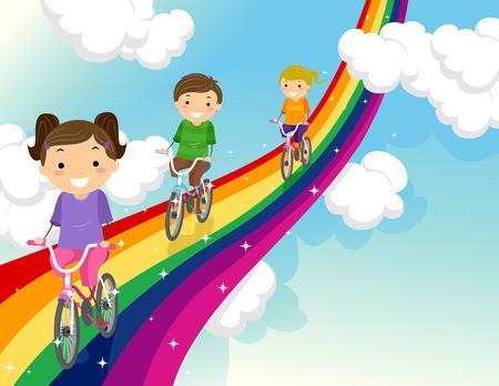 stickman: Stickman Illustration of Kids Biking Along a Rainbow Stock Photo