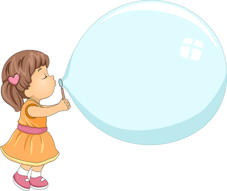 blows: Illustration of a Cute Little Girl Blowing a Giant Bubble Stock Photo