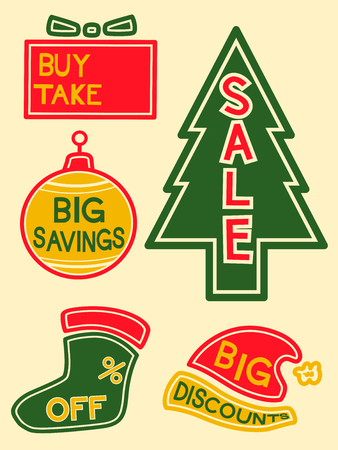 markdown: Illustration of Labels with Different Discounts and Promos Written on Them