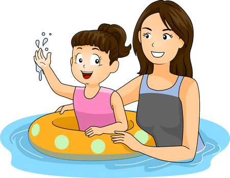 cartoon kids: Illustration of a Mother Teaching Her Daughter How to Swim Stock Photo