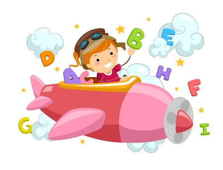 Stickman Illustratie van een Meisje Vliegen met een vliegtuig omringd door Brieven en Wolken