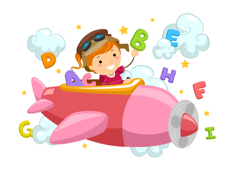 cartoon kid: Stickman Illustration of a Little Girl Flying an Airplane Surrounded by Letters and Clouds