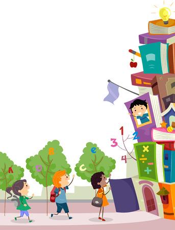 niÑos en el colegio: Ilustración stickman de niños a punto de entrar en una escuela Hecho de Libros empilados