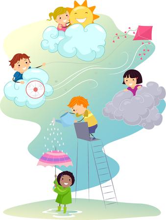raining: Ilustración stickman de niños jugando en diferentes tipos de clima Foto de archivo