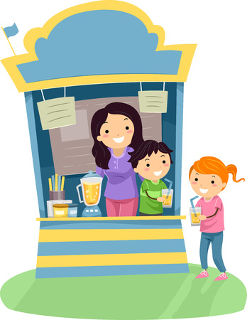 cartoon kid: Stickman Illustration of a Kid Buying a Glass of Juice from a Juice Stand Stock Photo