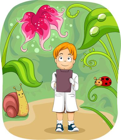 biologist: Illustration of a Little Biologist Taking Down Notes