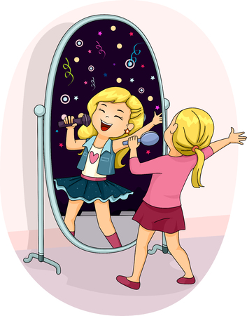 Illustration of a Little Girl Singing Her Heart Out in Front of the Mirror