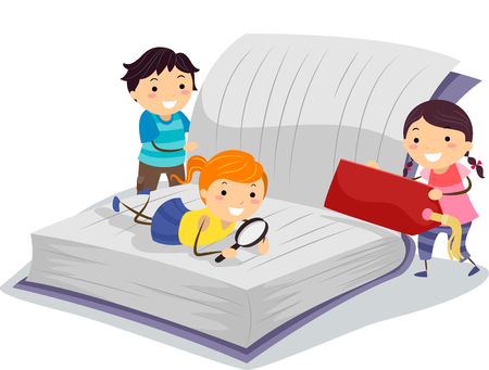 literatures: Stickman Illustration of Little Kids Using a Magnifying Glass to Read a Book