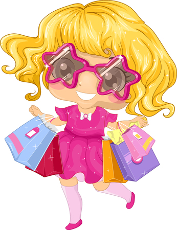 retail therapy: Illustration of a Little Girl Going on a Shopping Spree Stock Photo