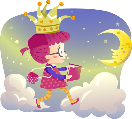 childrens book: Illustration of a Little Girl Holding a Storybook Walking on Clouds
