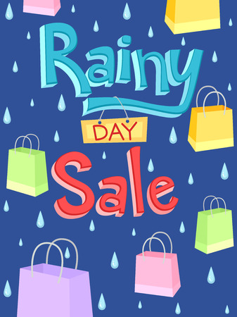 rainy days: Illustration of a Poster with the Words Rainy Day Sale Written on It