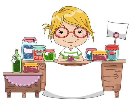 food illustration: Illustration of a Little Girl Manning the Counter of a Homemade Goods Stall