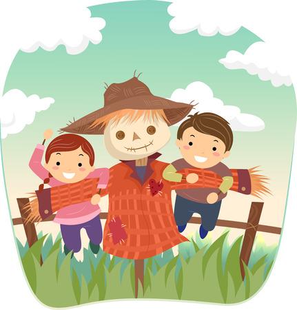 bonhomme allumette: Illustration Stickman d'enfants jouant avec un épouvantail Banque d'images
