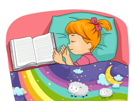 kid illustration: Illustration of a Little Girl Having Colorful Dreams