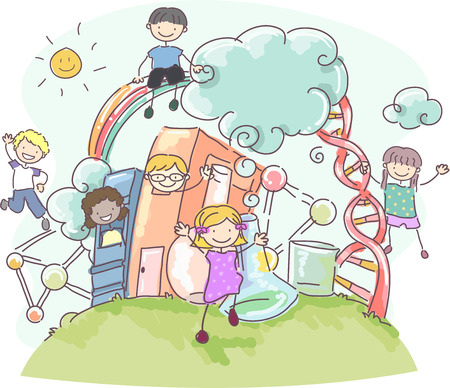 Doodle Illustration of Stickman Kids Surrounded by Science Related Items Фото со стока
