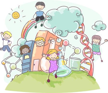 bonhomme allumette: Illustration Doodle de Stickman enfants Entouré par les objets des sciences connexes Banque d'images