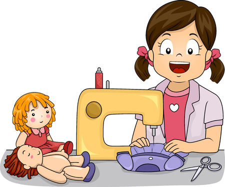 sewing: Illustration of a Little Girl Making Homemade Dresses for Her Dolls Stock Photo
