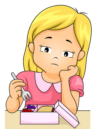 Illustration of a Little Girl Picking on Her Food Stock Photo