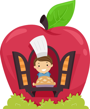 he: Stickman Illustration of a Little Boy Showing the Apple Pie He Baked