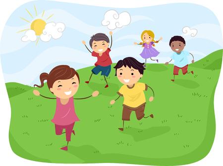 Stickman Illustration of Kids Running Down a Hill Foto de archivo