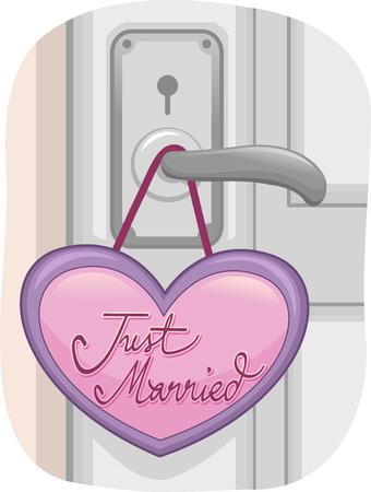 recien casados: Ilustración de una puerta cerrada con una sesión apenas casada Colgando de la perilla