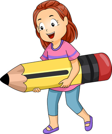 grade schooler: Illustration of a Little Girl Carrying a Giant Pencil Stock Photo