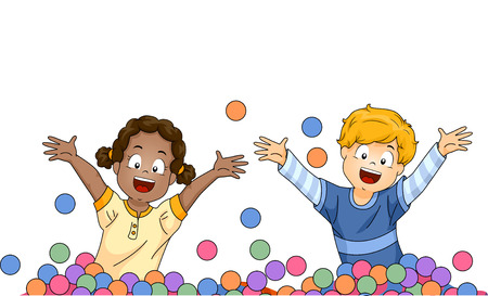 happily: Illustration of Little Kids Playing Happily in a Ball Pit
