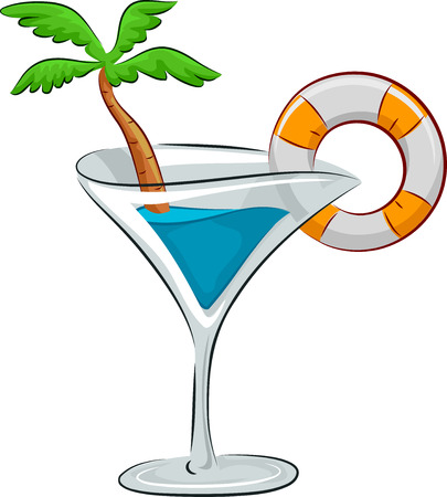 garnish: Illustration of a Cocktail Drink with a Lifebuoy and a Palm Tree for Garnish