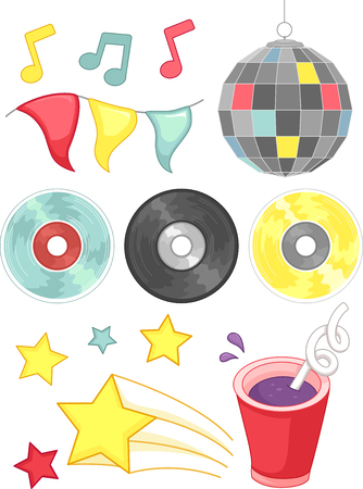 grouped: Grouped Illustration of Disco Related Elements Stock Photo