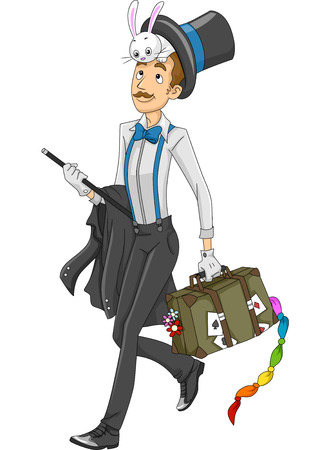 stage props: Illustration of a Magician Carrying a Luggage Full of Magic Props