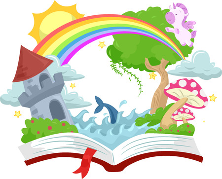 rainbow scene: Illustration of an Open Book with a Medieval Castle on Top Stock Photo