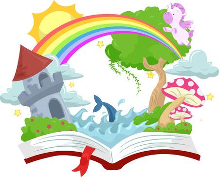 libros abiertos: Ilustración de un libro abierto con un castillo medieval en la cima