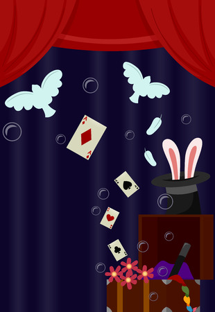 stage props: Illustration of Storage Chest Filled with Stage Props Used to Perform Magic Tricks