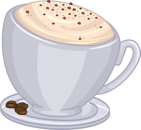 toppings: Illustration of a Cup of Cappuccino with Chocolate Toppings Stock Photo