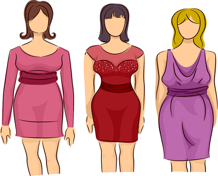 plus size girl: Illustration of Plump Mannequin Modeling Clothes for Plus Size Women Stock Photo