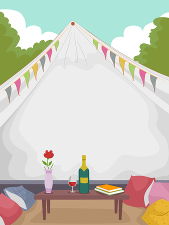 reading books: Illustration of a Fancy Tent with a Bottle of Wine Sitting on a Table in Front