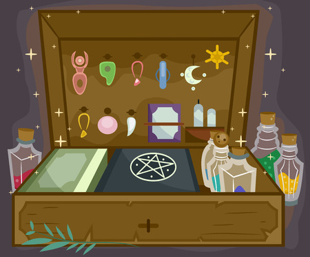 wicca: Illustration of a Witchcraft Kit Complete with All Sorts of Witchcraft Tools Stock Photo