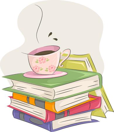 책의 더미 꼭대기에 앉아 커피 한 잔의 그림 스톡 콘텐츠