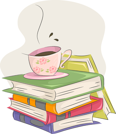 Illustration of a Cup of Coffee Sitting Atop a Pile of Books