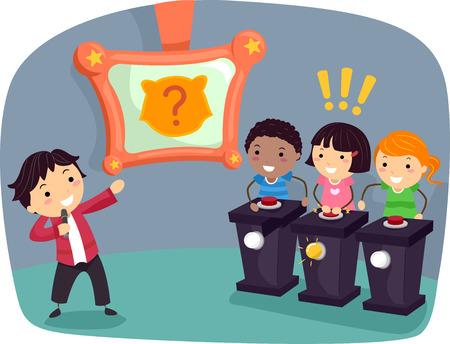 bambini che giocano: Stickman illustrazione di bambini che giocano un gioco a tema su animali indicano la