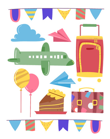 grouped: Grouped Illustration of Travel Related Elements