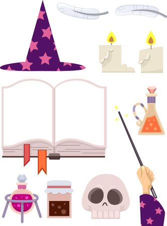 wizardry: Grouped Illustration Featuring Wizardry Related Items
