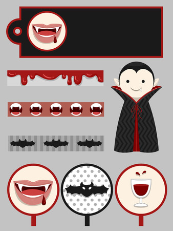 printables: Group Illustration of Party Printables with a Vampire Theme